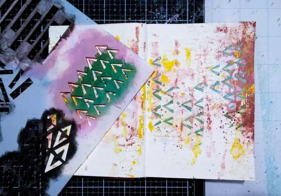 A journal spread. Background stenciling. Tcwstencils