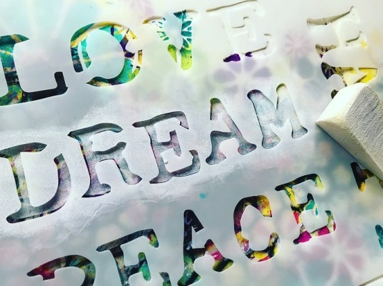 Dream word stenciled for title of art journal #tcwstencillove