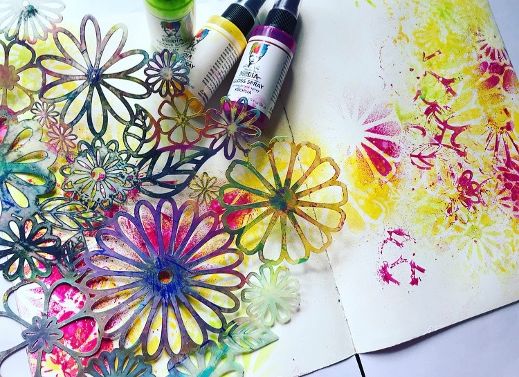 Fuschia, lemon and Lime Dina Wakley Gloss Sprays sprayed through Flower Frenzy Stencil