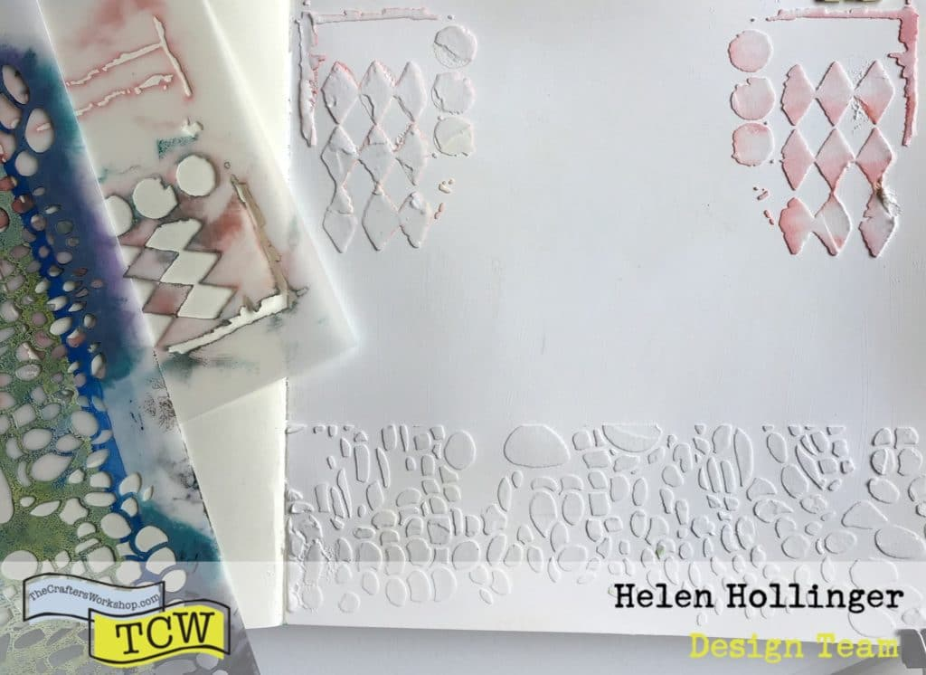Close up of molding paste used with TCW357 Cell Theory stencil and TCW459 Harlequin Circles stencil.