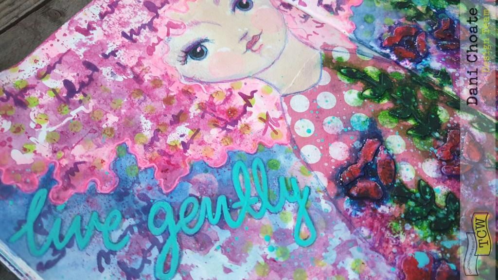 gently TCW541 believe script art journal mixed media
