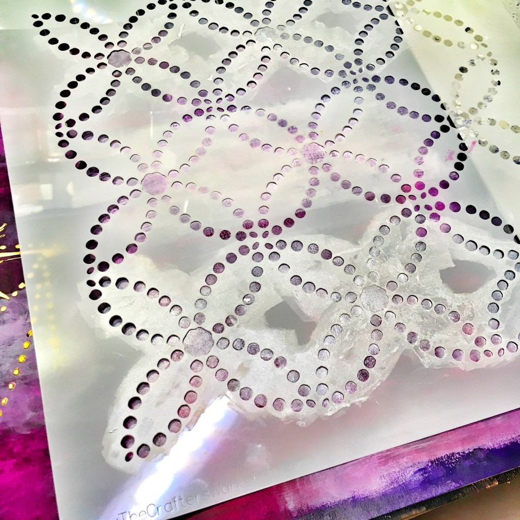 TCW9001 White Gesso and TCW9012 Shimmery Goodness through TCW851 Dotted Rings Stencil with cosmetic sponge on Ethereal Celestial Art Journal Layout