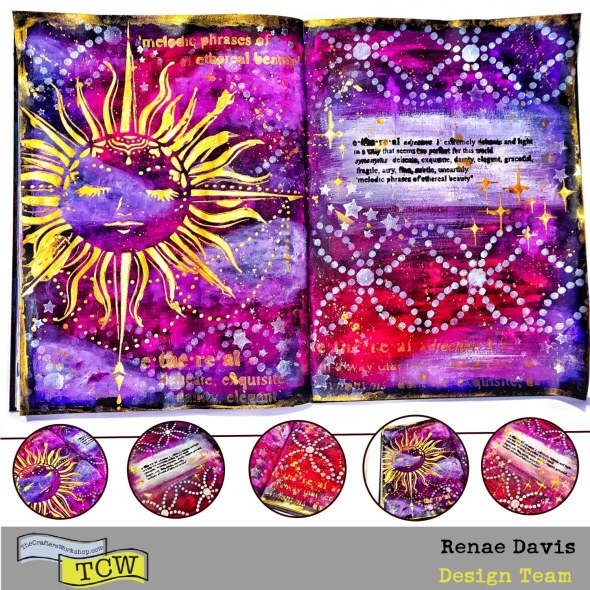 Ethereal Celestial Art Journal Page by Renae Davis TCW Design Team Member