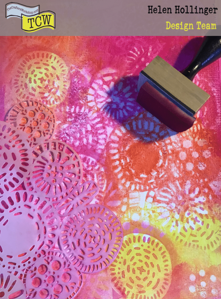 Adding ink over the stencil to the page using distress inks and the TCW883 Circle Jumble stencil