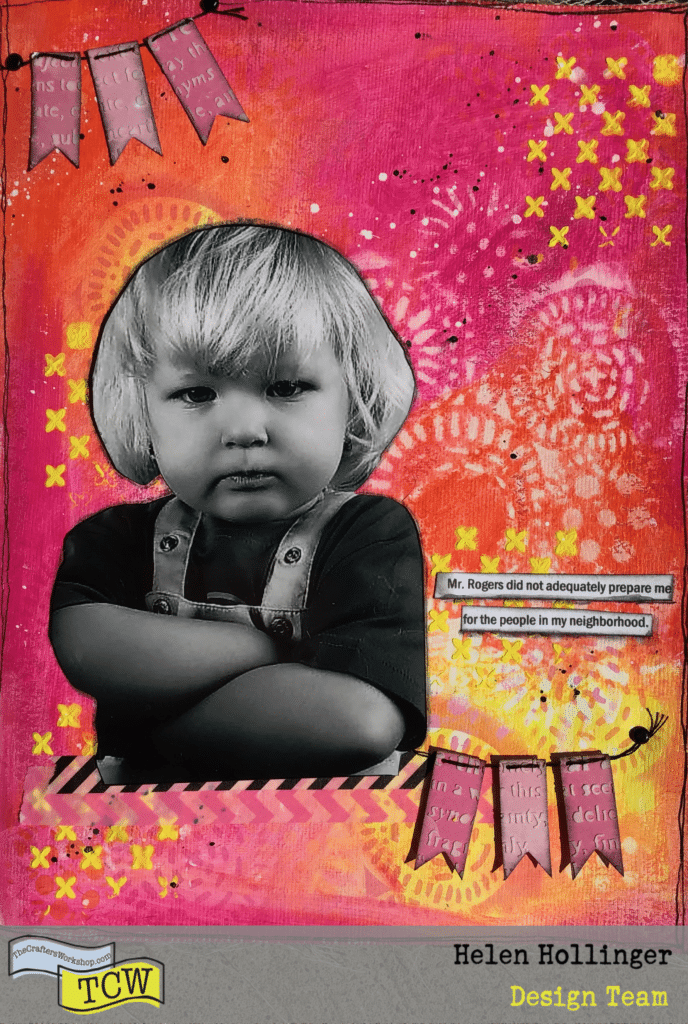 Art journal example using stencils and modeling paste