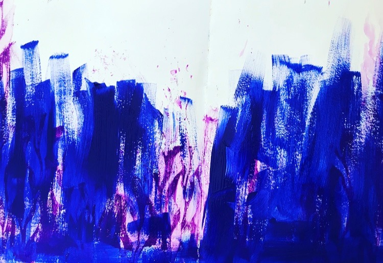 Layers of deep blue paint and purple paint randomly brushed onto background.