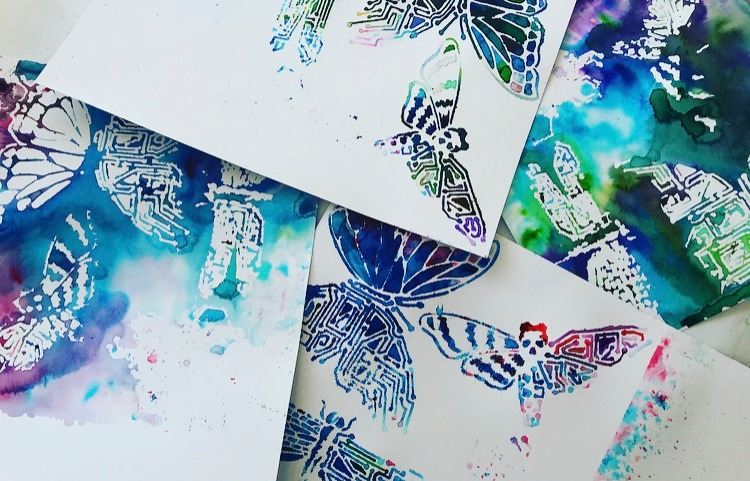 images created with a stencil and TCW Color Sparx butterflies and dragonfly