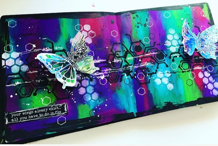 art journal page in bold bright colors #tcwstencillove Tammy Klingner