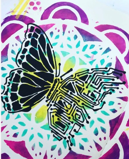close up image of black  butterfly over art journal page