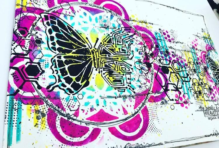art journal page bright colors butterflies hexagons