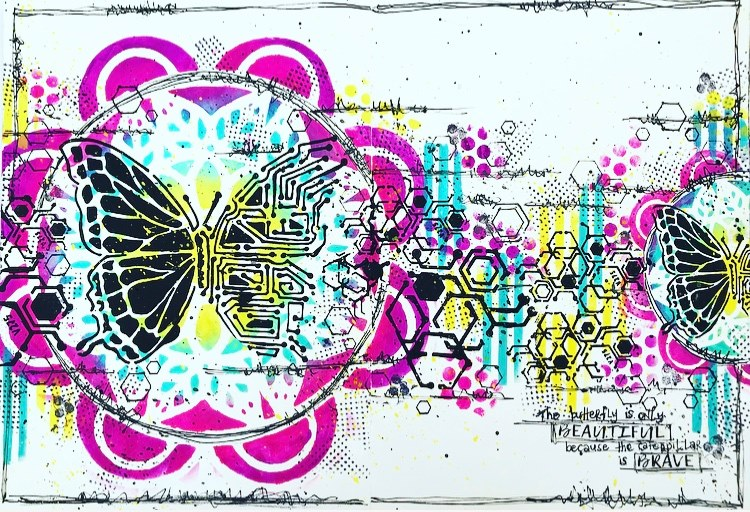 art journal page with butterflies and cells and hexagons and bright colors #tcwstencillove  Tammy Klingner
