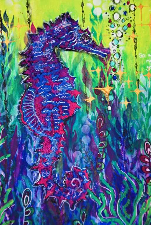 close up of seahorse with beads for texture