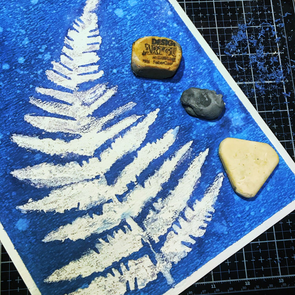 Eraser removing masking fluid through TCW243 Ferns Stencil on  TCW9051 Watercolor Paper