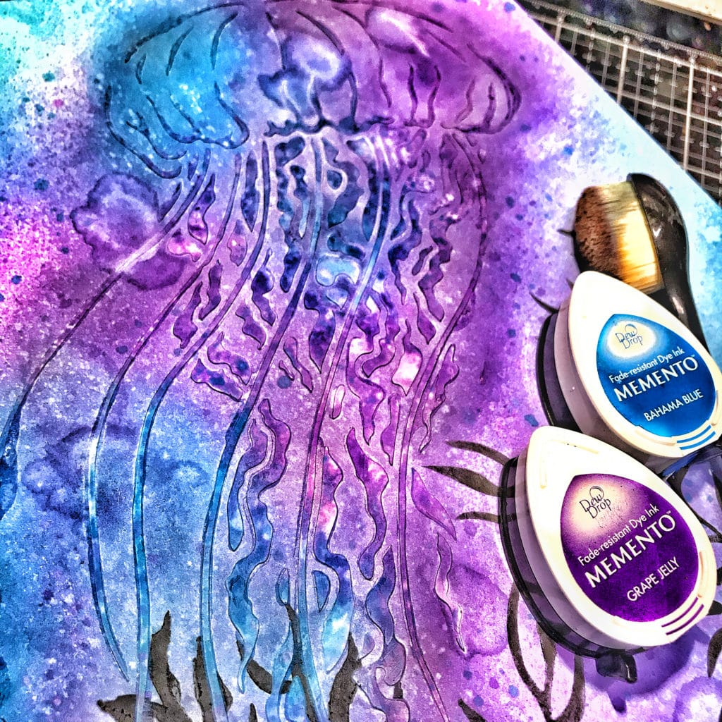 Memento Bahama Blue and Grape Jelly Ink over and around the TCW9005 White Modeling Paste through 12x12 TCW917 Jellyfish Stencil
