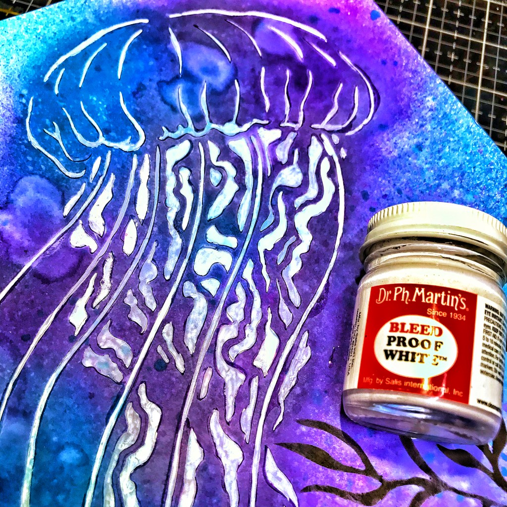 Dr. Martin's Bleed Proof White over TCW9005 White Modeling Paste through 12x12 TCW917 Jellyfish Stencil