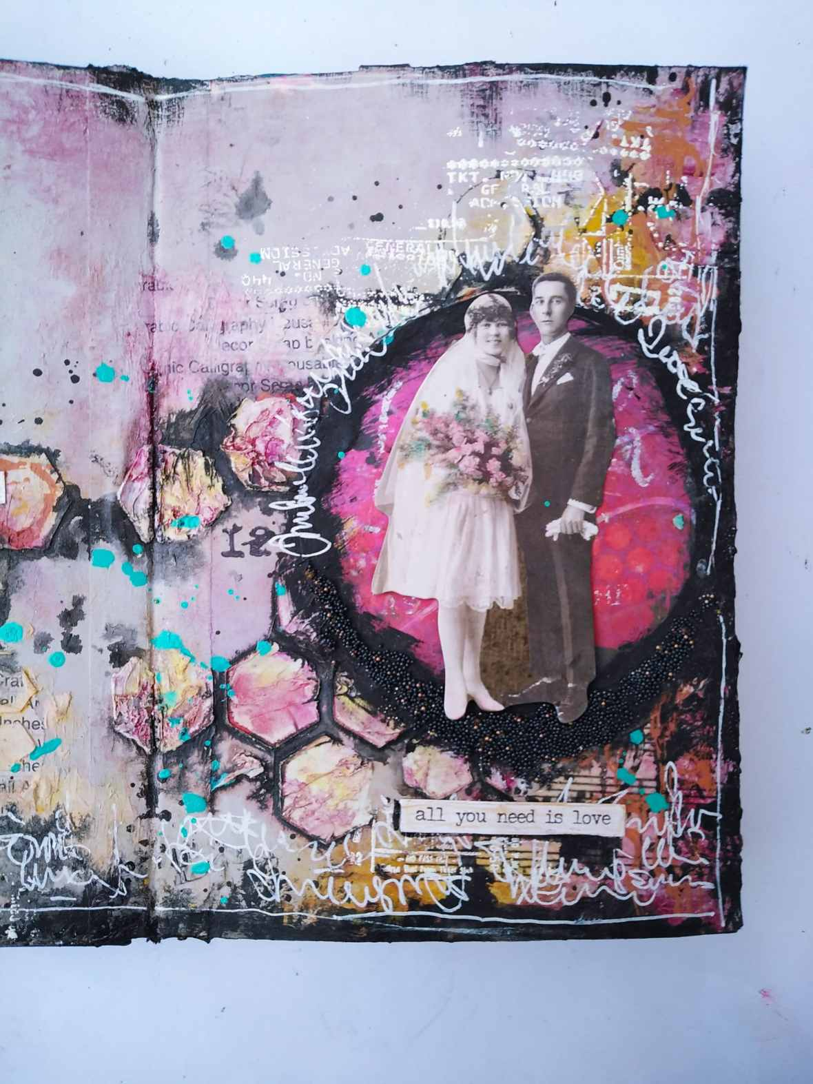 Art journal spread, acrylic paints, stencils, modeling pastes
