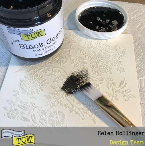 Applying black gesso over entire canvas