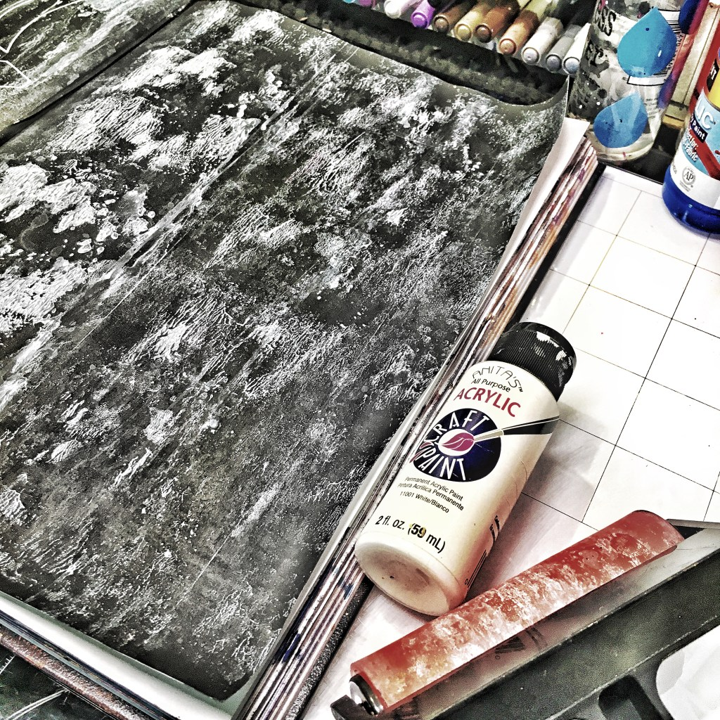 second layer- Diluted white acrylic paint rolled on with a brayer
