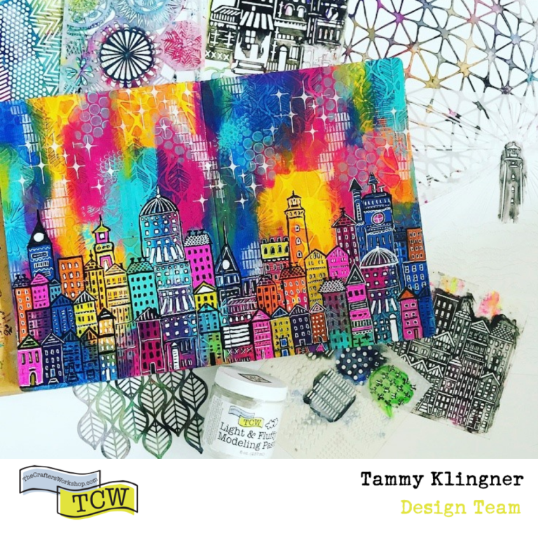 art journal page created using lots of TCW stencils and mediums. Bright colors #tcwstencillove Tammy Klingner
