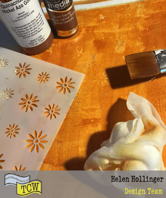 Apply white gesso to page, paint over with acrylic paints, wipe away areas using TCW2166 Posies in a row stencil and baby wipe