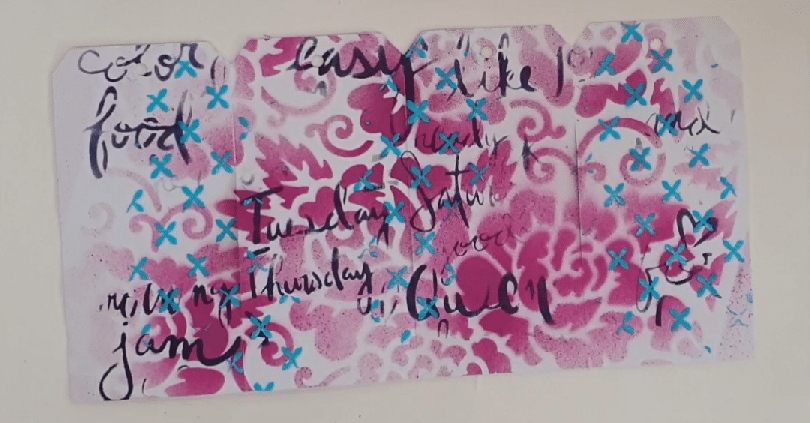4 tags with stenciling TCW711 Rose Garden; TCW832 Script Words & TCW922 Ethereal