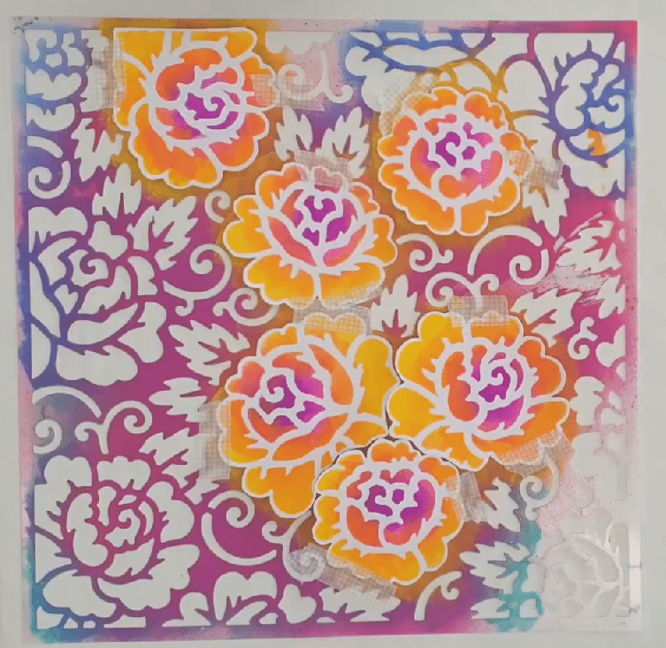 TCW711 Rose Garden with stenciled flowers ready to stencil to make double- sided