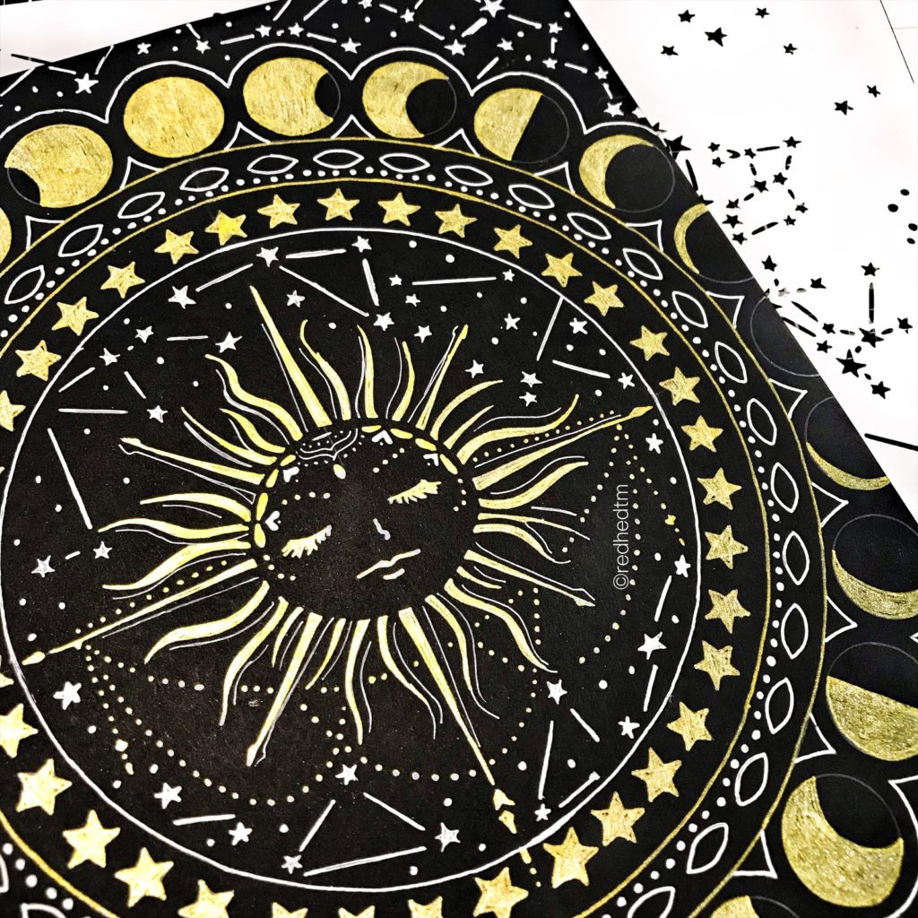 """12x12"""" TCW734 Constellations Stencil with white gel on black card stock"""