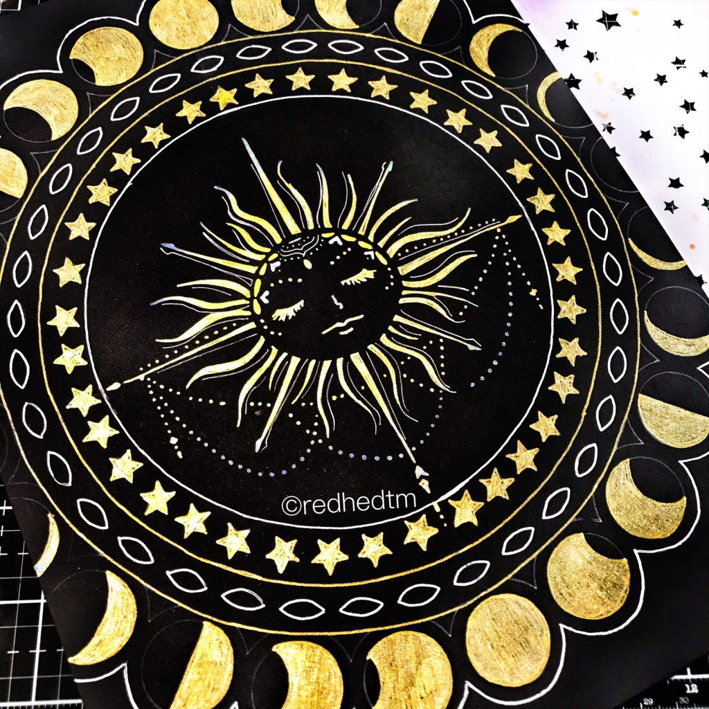 "6x6"" TCW5004 Star Shower Stencil with gold gel pen on black card stock"