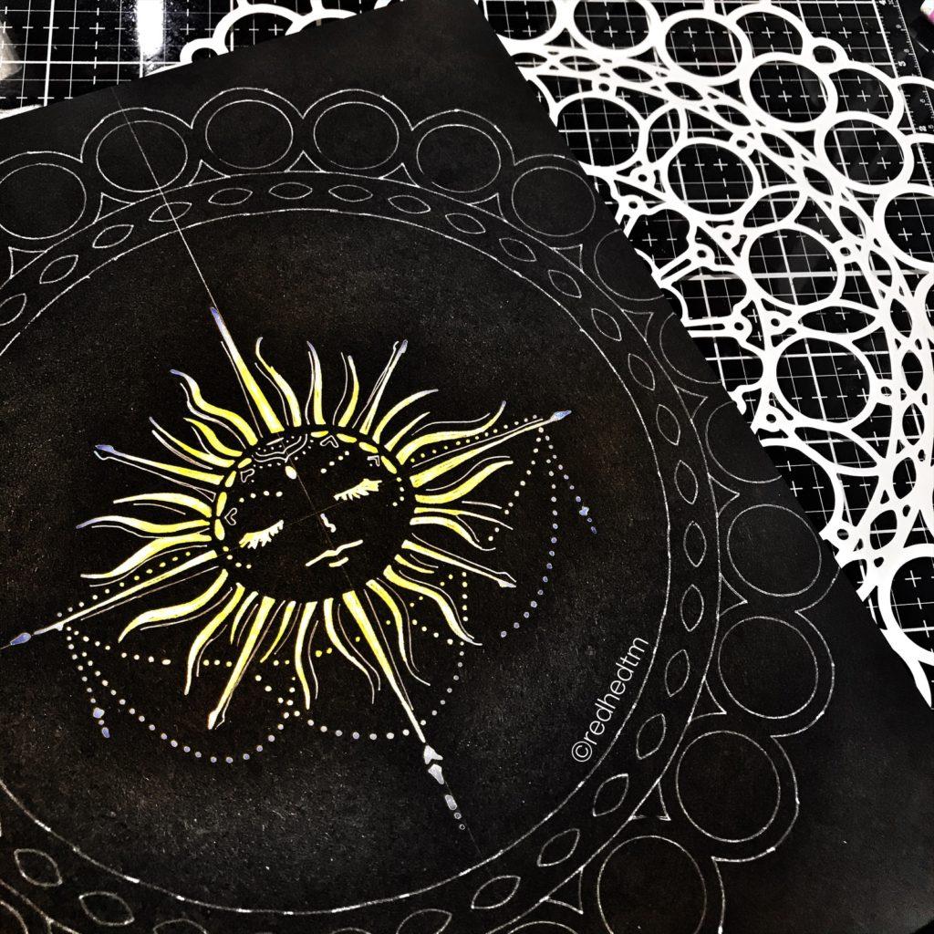 "12x12"" TCW873 Orb Mandala Stencil with white gel pen on black card stock."
