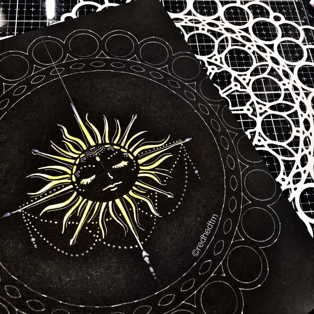 "12x12"" TCW873 Orb Mandala Stencil with white gel pen on black card stock."