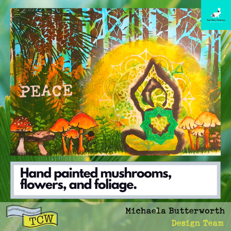 Image showing the hand painted mushrooms, flowers, and grass in the foreground.