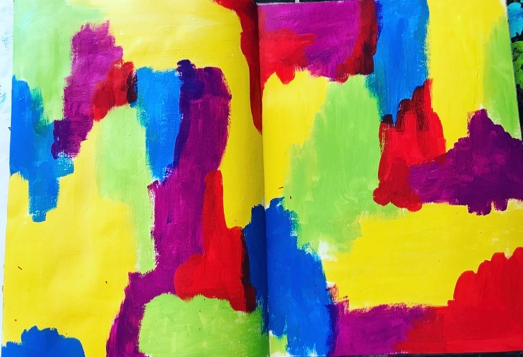 background to an art journal page - splodges of bright colors