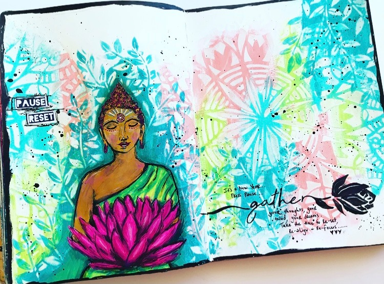 Art Journal page for TCW #tcwstencillove Tammy Klingner