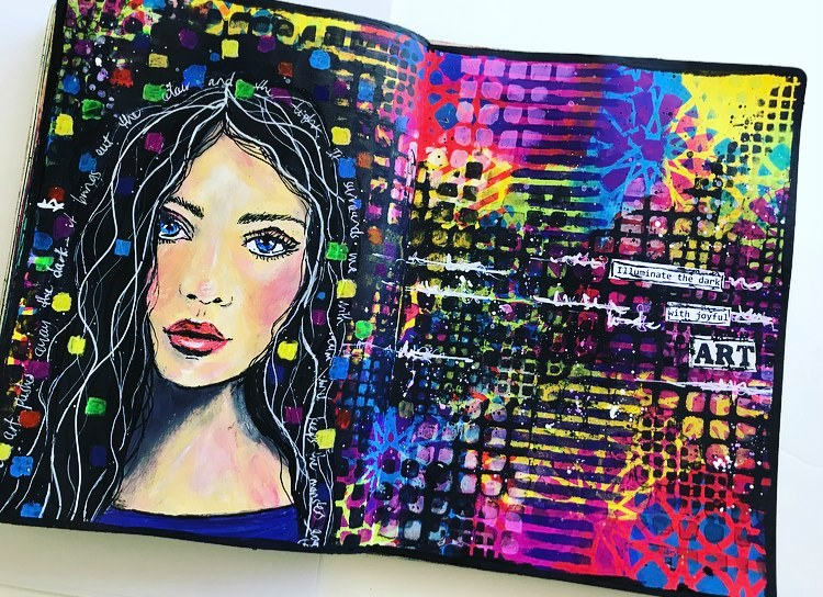 Grungy but colorful art journal page using TCW Stencils  Art for therapy Tammy Klingner #tcwstencillove