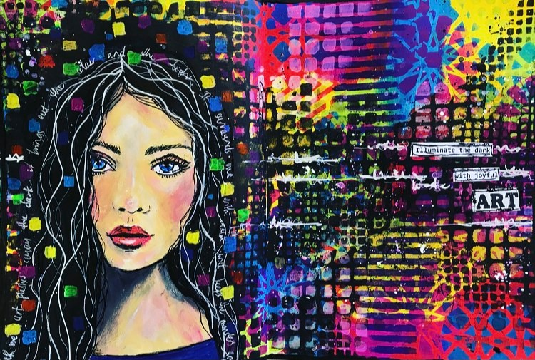 Colorful art journal page with a girls face Tammy Klingner