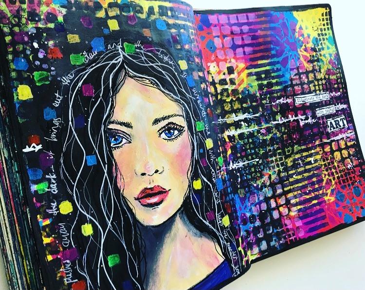 Grungy colorful page Illuminate the dark with joyful art Tammy Klingner #tcwstencillove