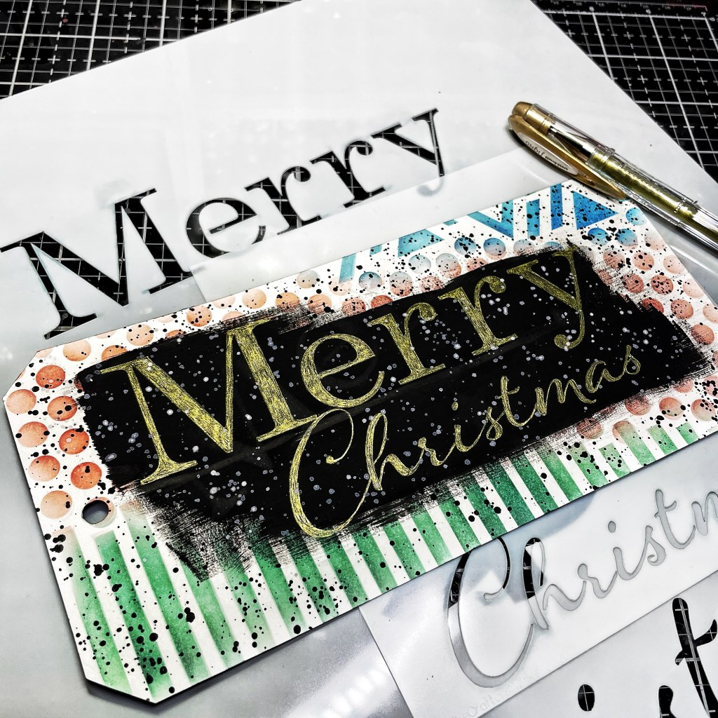 Gold gel pen through 12x12 and 6x6 TCW880 Merry Tree Stencil