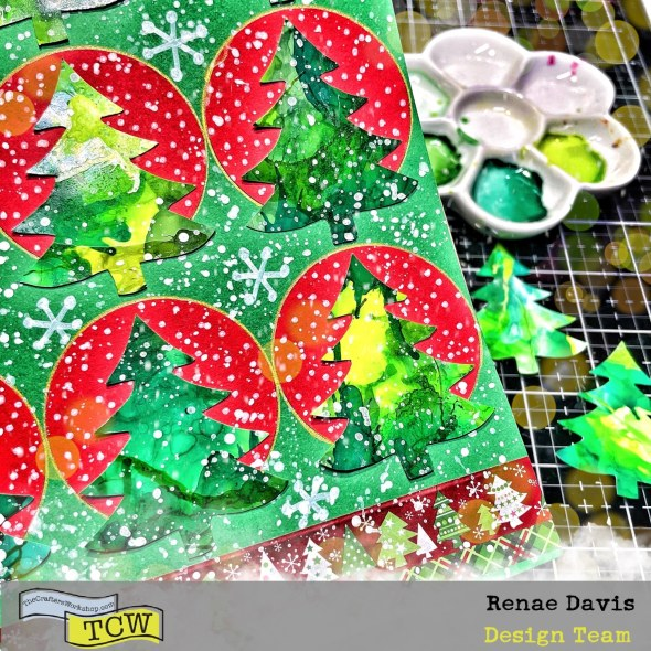 Easy-Peasy Alcohol-Inky Christmas Trees by Renae Davis