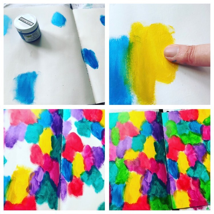 4 photos showing putting the colored butters onto background using fingers