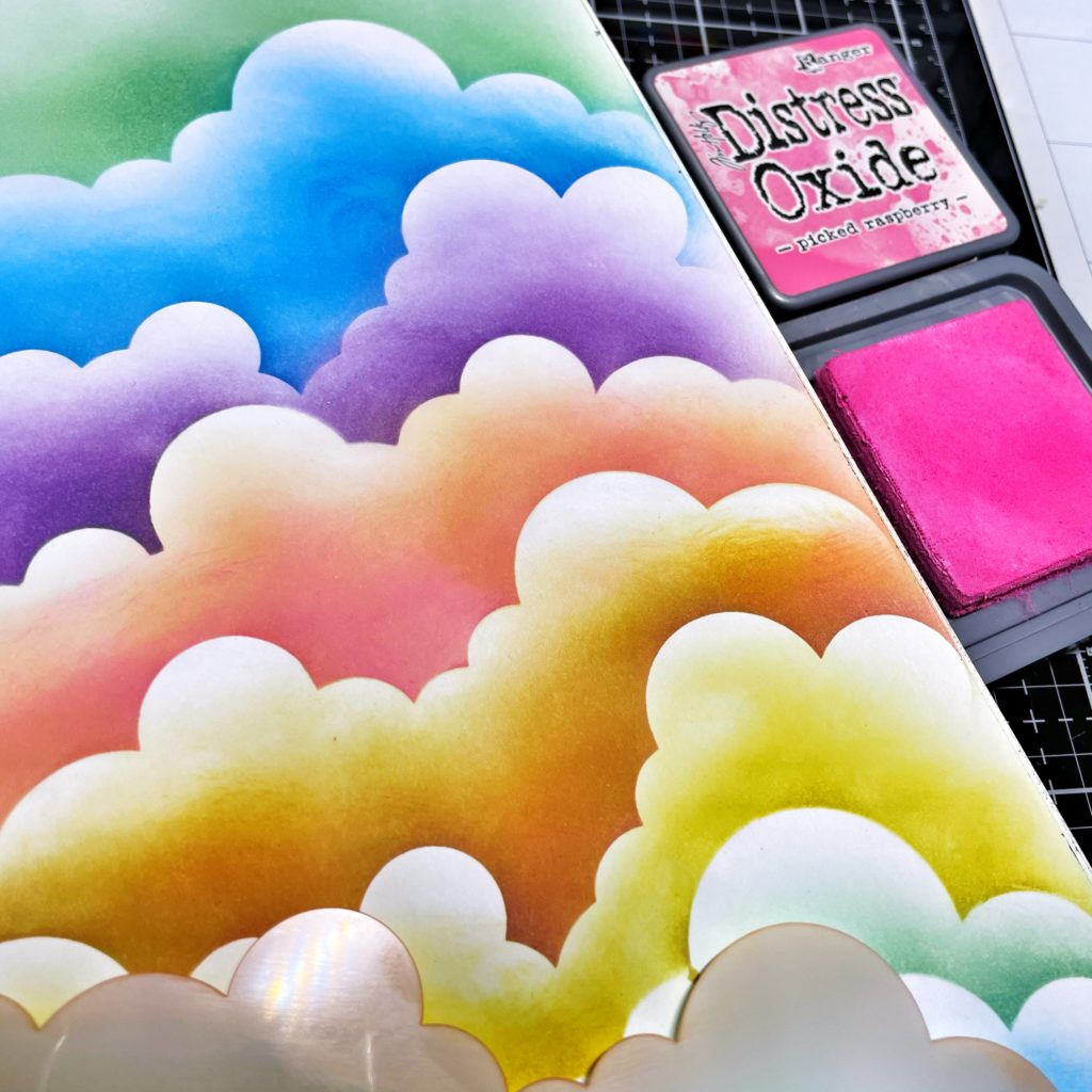 Distress Oxide Ink colors over rotated TCW2308 Clouds Slimline Stencil