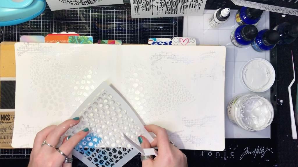 TCW9005 White Modeling Paste through TCW807 Script Dots Stencil