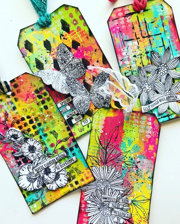 Art Journal tags in rainbow colors with black and white stamped images Tammy Klingner #tcwstencillove