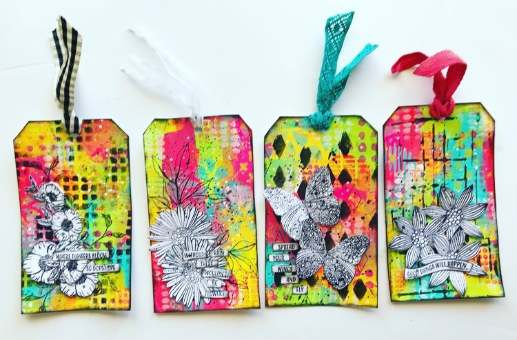 4 complete tags with flowers and butterfly images in pink, yellow, aqua, lime, black and white Tammy Klingner