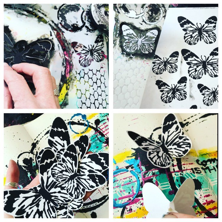 creating butterflies by swiping gesso through a butterfly stencil four small and 2 large and then layer them up