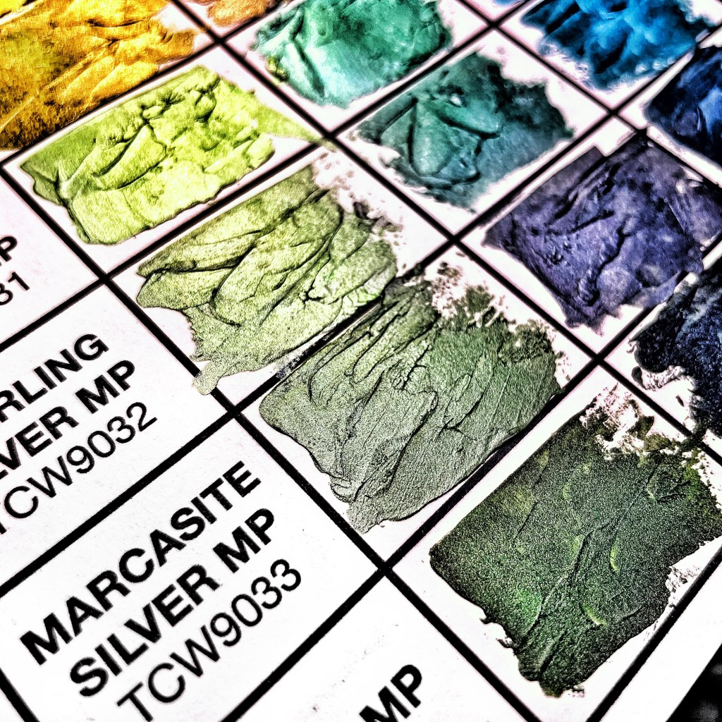 closeup: second swatched chart using TCW Stencil Butters and Modeling Pastes