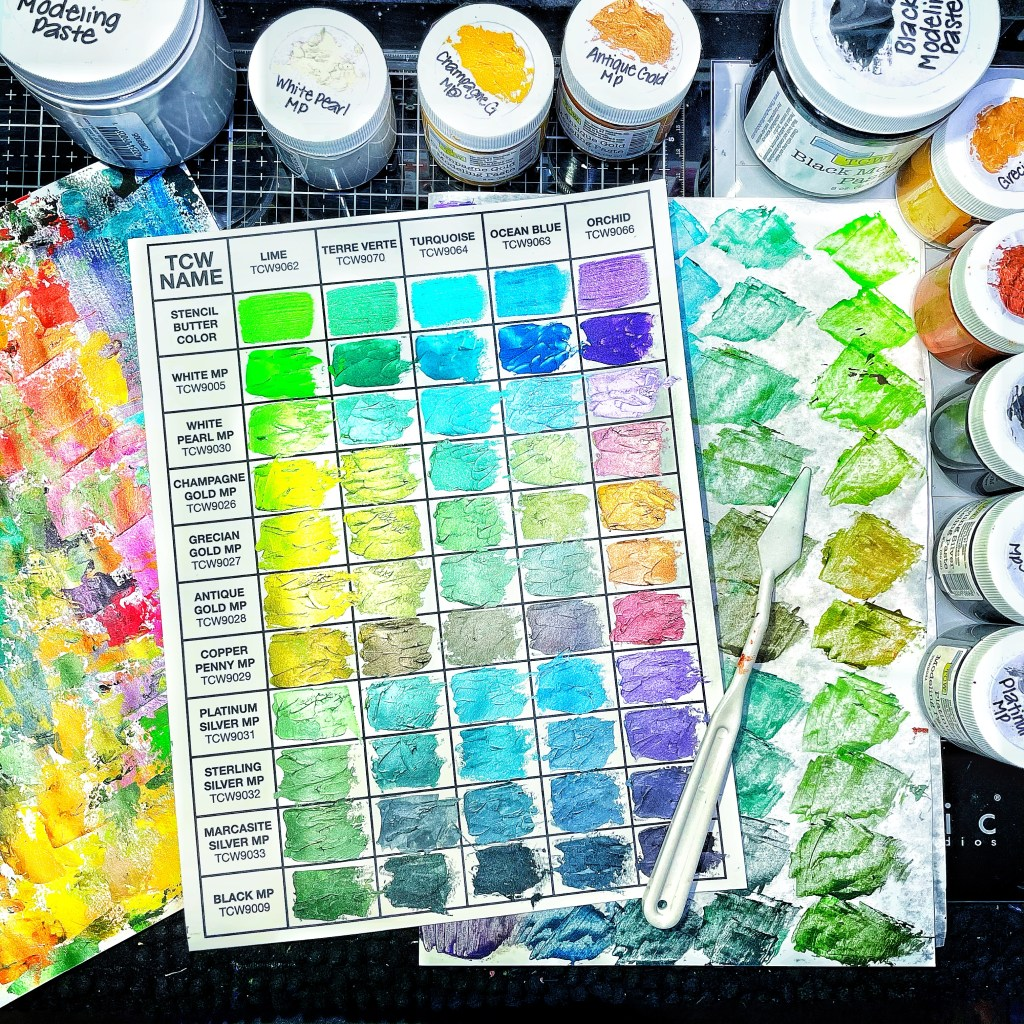 second swatched chart using TCW Stencil Butters and Modeling Pastes