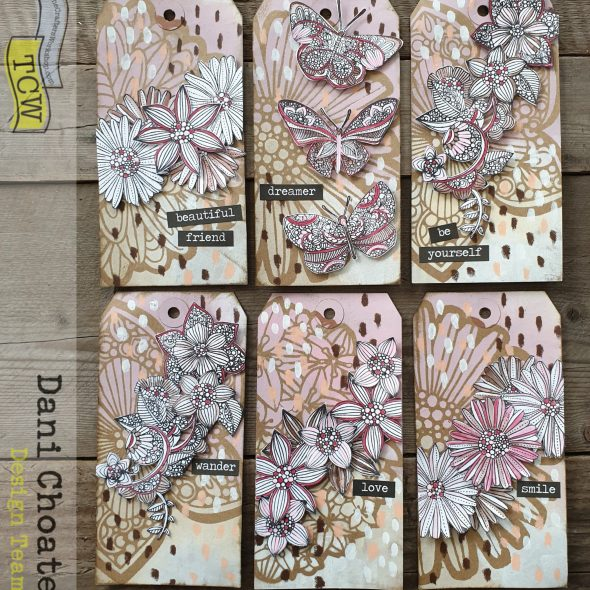 Set of mixed media tags