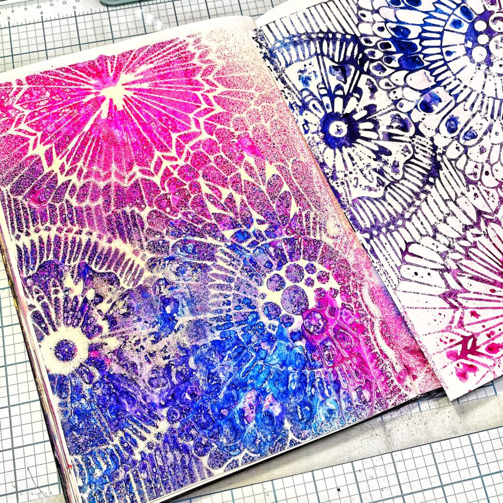 double prints with TCW780 Botanical Dream Stencil
