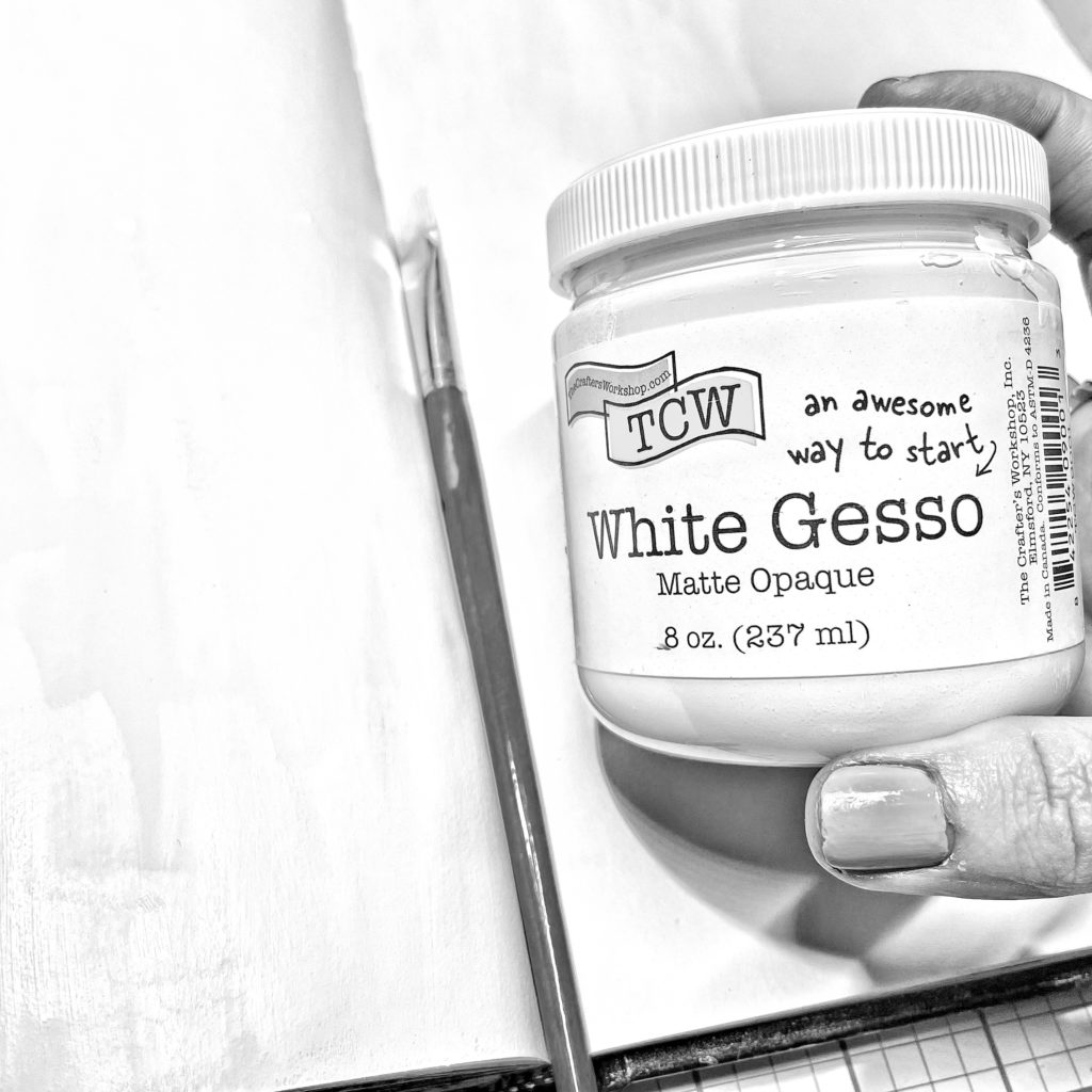 layout pages primed with TCW 9001 White Gesso