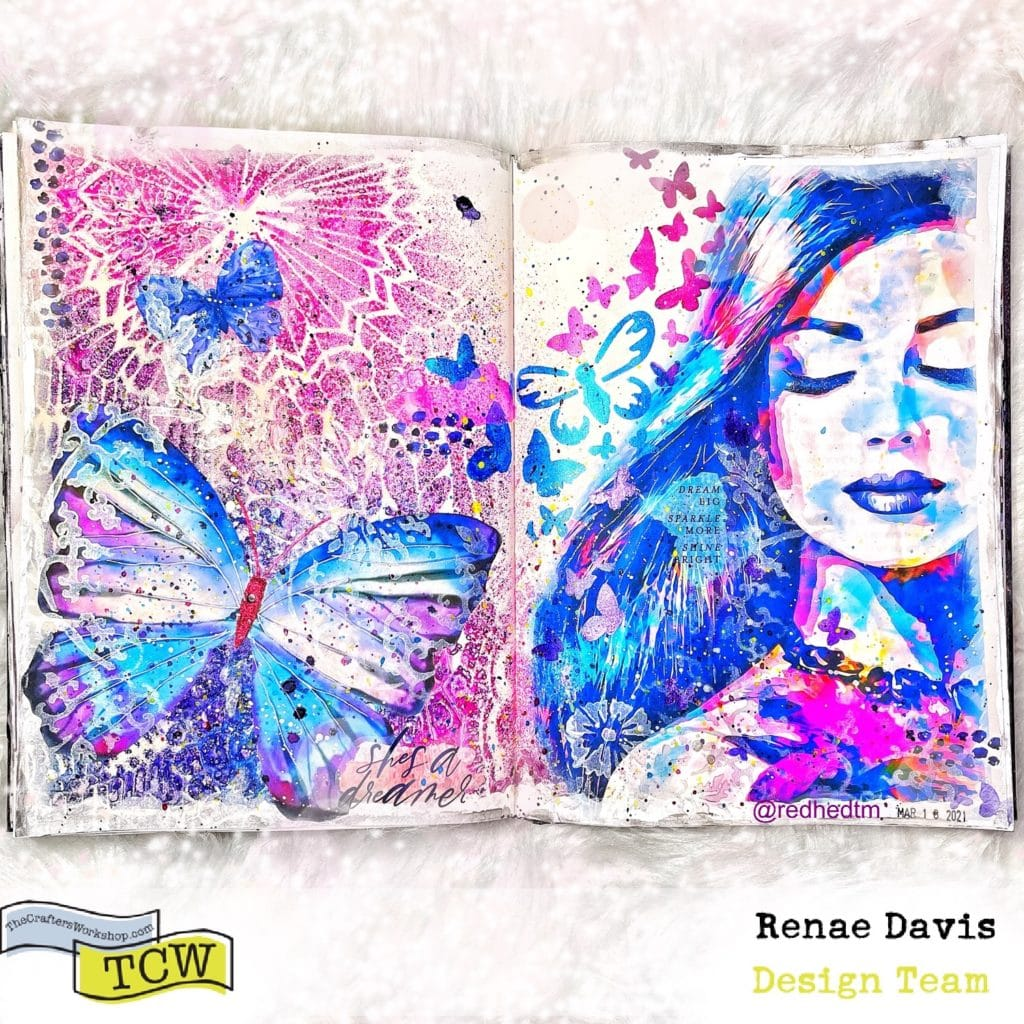 Fuchsia Dreams Mixed Media Art Journal by Renae Davis